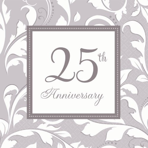 Silver Elegant Scroll 25th Anniversary Luncheon Napkins (16ct)