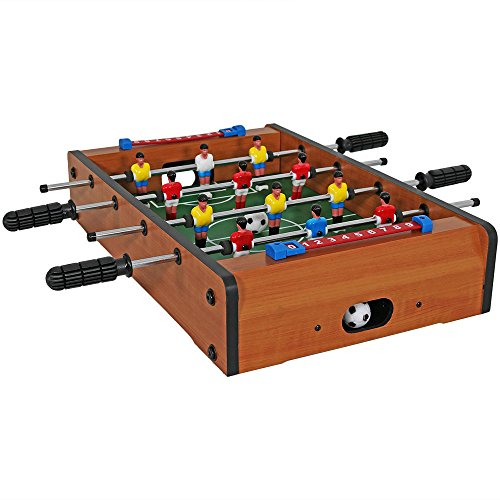 Sunnydaze 20 Inch Tabletop Foosball Table, Mini Sports Arcade Soccer for Game Room, Accessories Included - Laminated Rectangular Tabletop