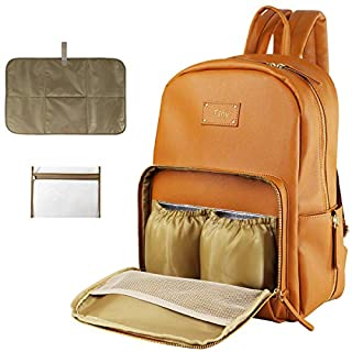 Leather Diaper Bag Backpack,Maternity Baby Diaper Backpack,Travel Backpack Baby Bag with Roomy Pockets, Changing Pad, Large Capacity,Thermal Pocket,Waterproof and Stylish (Brown)