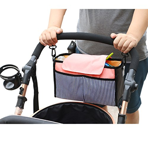 Baby Stroller Organizer Bag, C.A.Z Baby Stroller Pram Pushchair Hanging Storage Bag Insert Organizer Cosmetic Toiletry Bag Makeup Bag Tidy Bag Universal Stroller Cup Holders Waterproof ( Pink )