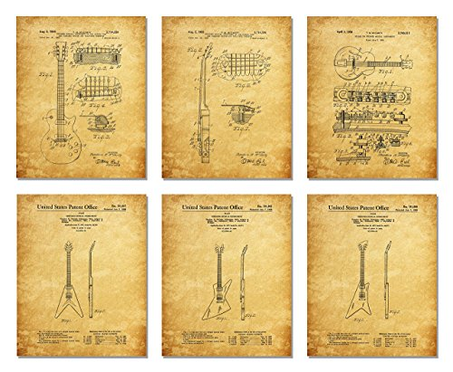 Gibson Guitar Patent Print Set of Six Photos - Wall Art - Les Paul (8 X 10 Inch)