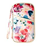 Travel Passport Holder Security Pouch Wallet with RFID Blocking White Flowers