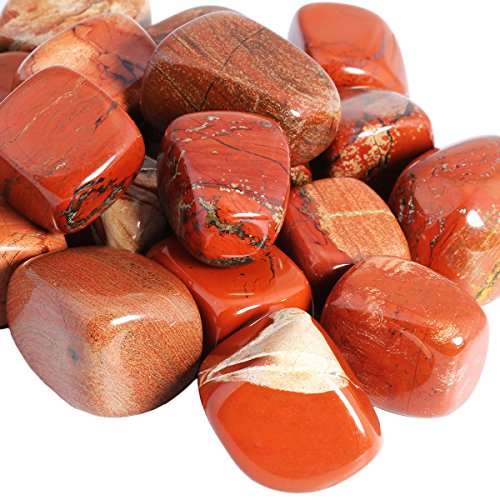 SUNYIK Tumbled Polished Stone,Smooth Rock Crystal for Tumbling,Cabbing,Red Jasper 1pound(about 460 (Red Sea Stone)