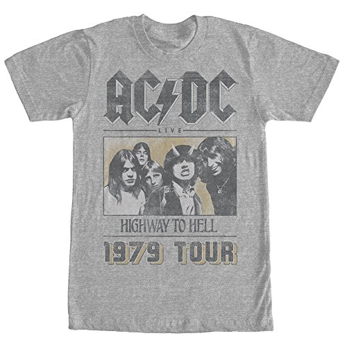 AC/DC Men's Highway To Hell Tour Athletic Heather - T Shirt To Hell Highway