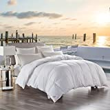 Natural 65oz White Goose Down Comforter King Size, Hypoallergenic 100% Cotton,Box Stitching,Fluffy and Cozy,White Solid