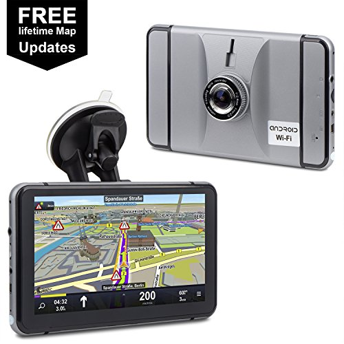 Car GPS Navigation & Dash Camera, HighSound 2-in-1 Android 7 inch 8G WiFi Bluetooth AV-in Spoken Turn-to-Turn Traffic Alert, Travelling Data Recorder, 140 Degrees Lens