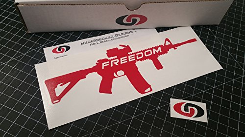 FREEDOM AR-15 Decal Second Amendment Gun Right American Flag Sticker AR15 SELECT COLOR (Gloss Red, 3.5