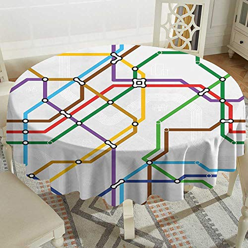 Cranekey Rectangle Round Tablecloth 60 Inch Map,Stripes in Vibrant Colors Metro Scheme Subway Stations Abstract Railroad Transportation,Multicolor Great for,Coffee & - Metro Coffee Table Round