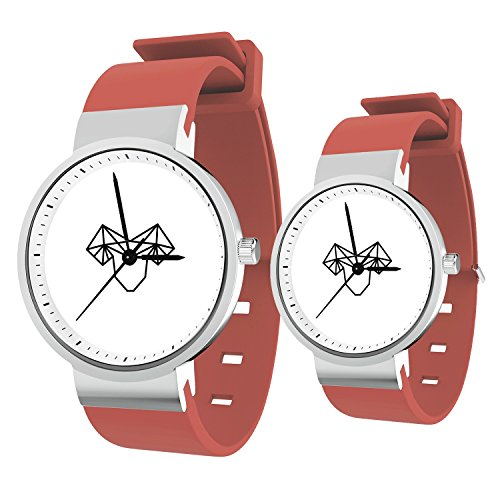 TobyFord Lovers Watch, Sweet Couples Capricorn Watch Pink Silicone Band Watch Gift for Him and Her Minimalist Fashion Cute Watches for Men & Women (2 Pieces)