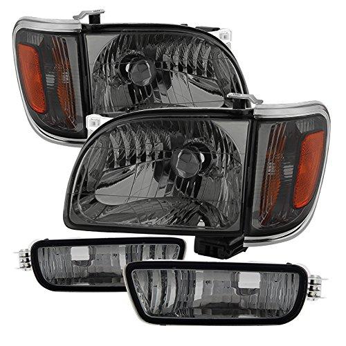 Toyota Tacoma Crystal Headlights W/ Amber Corner & Side Marker Lights 6pcs Chrome Housing With Smoke Lens