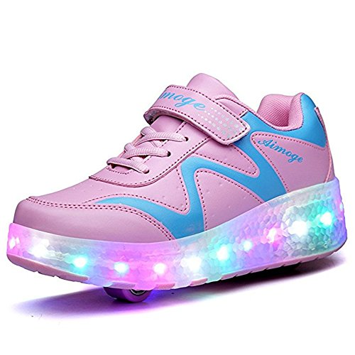 LED Light up Roller Skate Shoes Wheel Flashing Sneakers for Boys Girls Kids(Double-Pink-32/1 M US Little Kid)