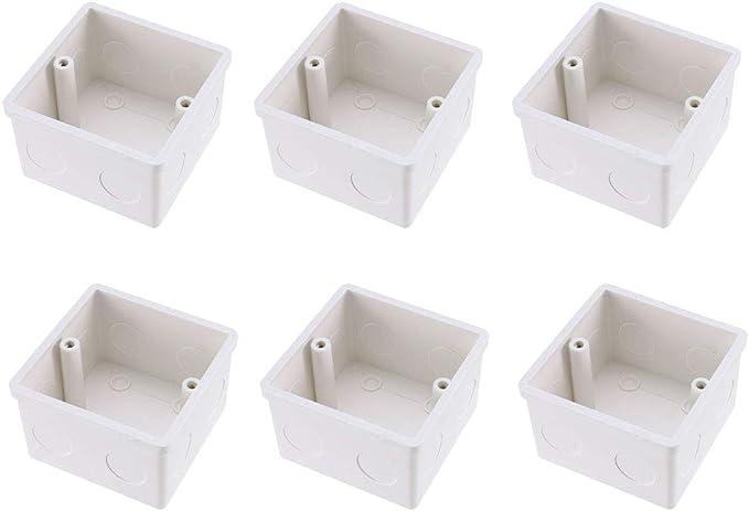 sourcing map Caja de Interruptor de Pared de Profundidad de Caja para Empotrar Tipo 86 Una Pista Blanca 6Pcs: Amazon.es: Bricolaje y herramientas