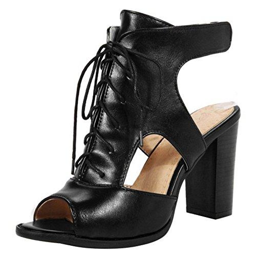Tacco Nero A Scarpe Blocco Cordoncino Sandali Donna Toe Moda Peep COOLCEPT Stivali con Tacco Alto F1q6z8xw