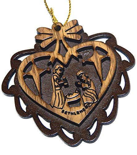 (Two Layers Mahogany with Olive wood Holy Family Nativity scene Ornament gift carved by Laser - Olive wood - carved inside Heart (5.5 cm or 2.2 inch with certificate) and gold string)
