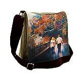 Lunarable City Love Messenger Bag, Autumn Trees Couple Lover, Unisex Cross-body