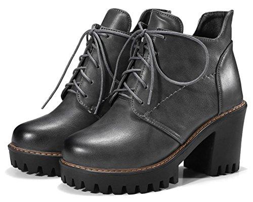 Aisun Womens Stylish Lace Up High Block Heel Short Boots Platform Round Toe Ankle Booties Shoes Gray TlPHeJPrqa