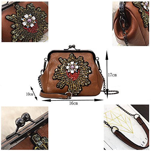 Abuyall Ladies Pu Appliques Bag Retro Purse Chains Bag Handbag Crossbag Lock Pt16 Minimalist Totes Kiss Satchel Shoulder Diamonds Leather fTrqfx