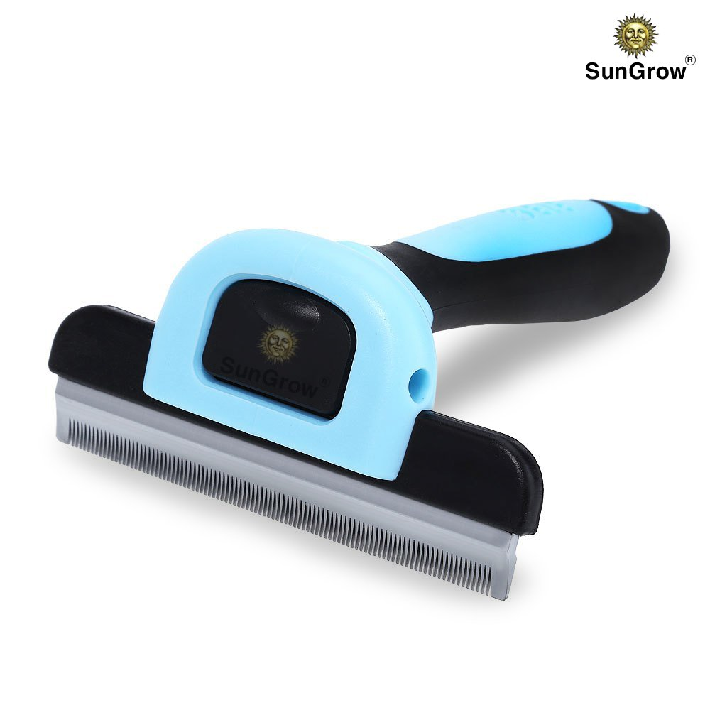 SunGrow Deshedding Brush - Vet Approved Grooming Tool - Pet-Safe Stainless Steel Blades - 3-minutes to GROOM & self-clean small, medium and large pet - Proven to REDUCE Hair Shedding by 90%