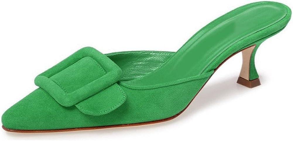 Divanne Heeled Mules for Women, Pointed Toe Slingback Pumps Buckle Kitten Heels Mules Slides Backless Dress Sandals