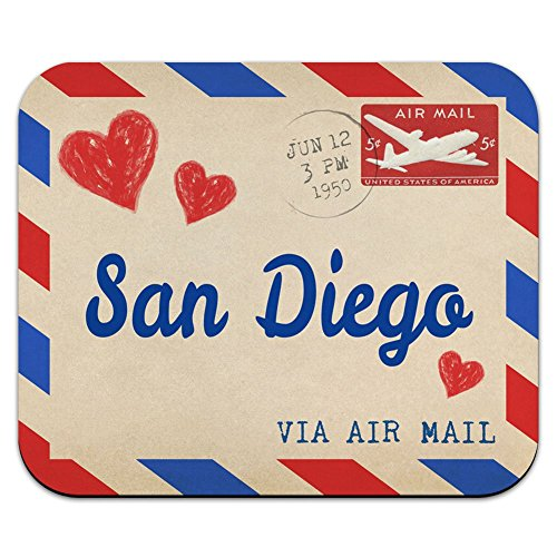 Graphics and More Air Mail Postcard Love for San Diego Mouse Pad Mousepad ()