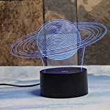 Saturn 3D LED Optical Illusion Lamps, Rquite 7 Color Change Touch Switch Art Sculpture Lights LED Desk Table Night Light Awesome Gift
