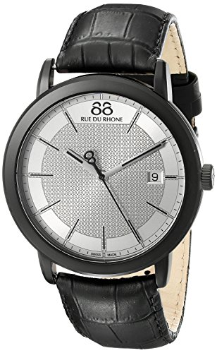 88-Rue-du-Rhone-Mens-87WA130020-Double-8-Origin-Analog-Display-Swiss-Quartz-Black-Watch