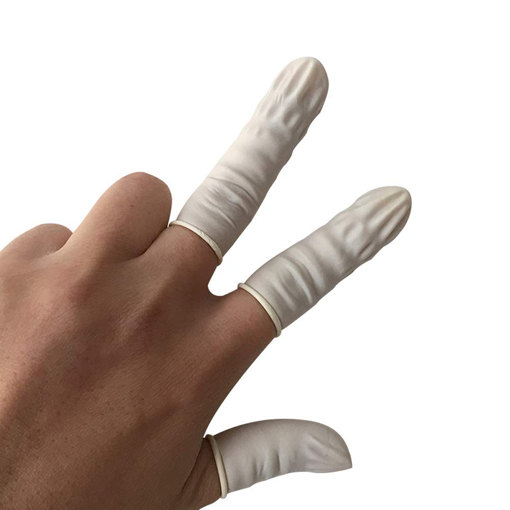 GH-YS Disposable Finger Cot, White Beauty Nail Tattoo Work Finger Sleeve, Rubber Latex Finger Sleeve (800)