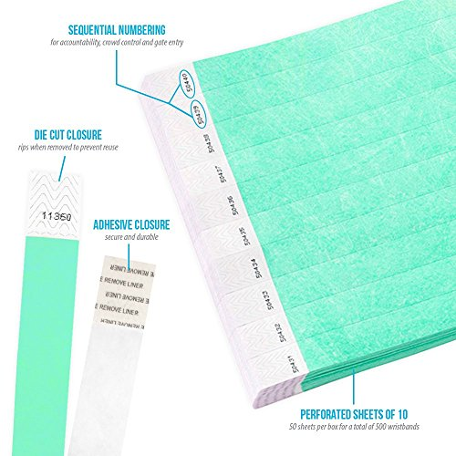 "Aqua 3/4"" Tyvek Wristbands - 500 Pack Paper Wristbands For Events Photo #4"