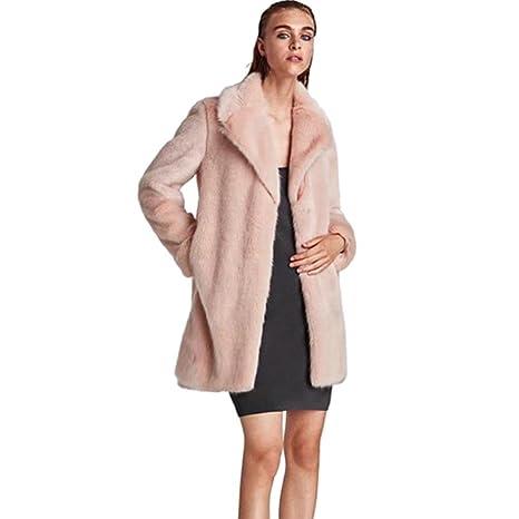 Xinan - Abrigo elegante con capucha de pelo sintético para mujer. Abrigo para otoño-