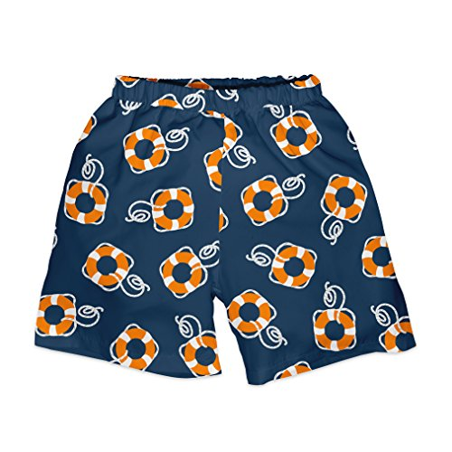 i play. Boys' Trunks Withbuilt-In Reusable Absorbent Swim Diaper, Navy Lifesaver, 24mo