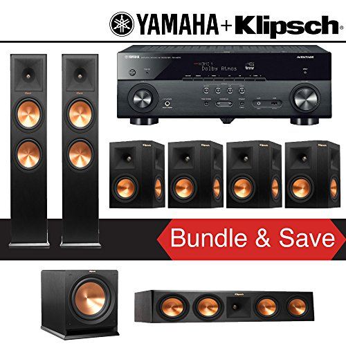 Klipsch RP-280F 7.1-Ch Reference Premiere Home Theater System with Yamaha AVENTAGE RX-A670BL 7.2-Ch 4K Network AV Receiver