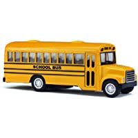 """5"""" Die Cast Long-Nose School Bus with Pull-Back Action and Open-Able Doors"""