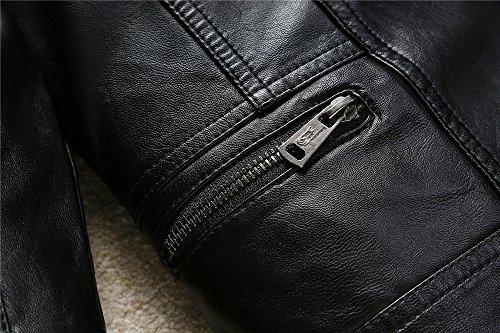 Budermmy Boys Faux Leather Motorcycle Moto Biker Jackets Zipper Coats Black Size 12 by Budermmy (Image #3)
