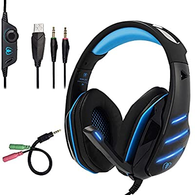 Beexcellent GM-3 Pro Wired Gaming Headset with Mic, LED Lights and Volume Control Stereo Over-Ear Bass Noise Cancelling, for PS4 Xbox One, Laptop, PC, Tablet, Most Smartphones (Blue)