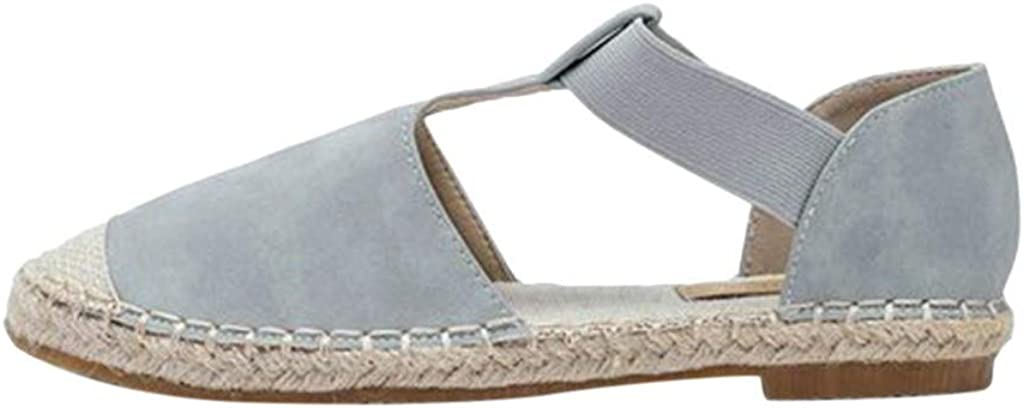 LowProfile Espadrilles Elastic Flat Sandals for Women Closed Toe Rome Shoes Sandals Casual Comfy Pregnant Loafers