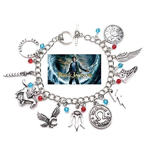 Athena Percy Jackson 10 Logo Charms Toggle Clasp Movie TV Theme Jewelry Bracelet Collection w/Gift (Theme Toggle Bracelet)