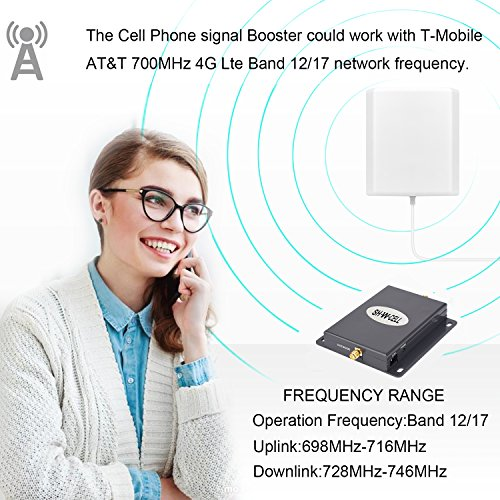 Cell Phone Signal Booster AT&T 4G LTE T-mobile Band17 Band12 Mobile Repeater Amplifier SHWCELL Including Indoor and Outdoor Panel Antennas Cable For Home (Dual Panel Antennas) by SHWCELL