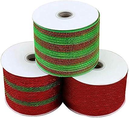 "Green Metallic Foil Decomesh 10 Yards Gold 21"" Christmas Red"