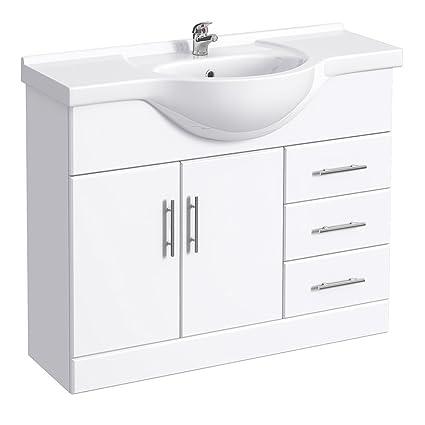 low priced 81caa 04f1f Alaska Large Bathroom Vanity Unit 1050mm High Gloss White ...