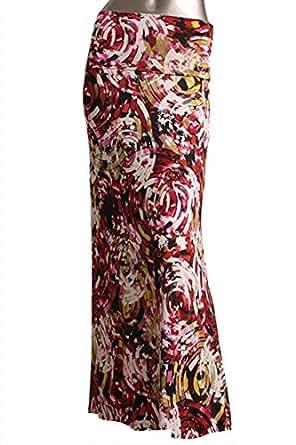 Women's Maxi Skirt -Stretchy, Soft Fabric (Medium, E54 Red Mirage)