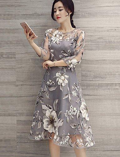 PU&PU Robe Aux femmes Trapèze Vintage,Fleur Col Arrondi Midi Polyester , gray-m , gray-m