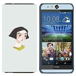 KLONGSHOP // Cubierta de piel con cierre a presión Shell trasero duro de goma Protección Caso - Muchacha Triste lindo del gris minimalista - HTC Desire Eye M910x //