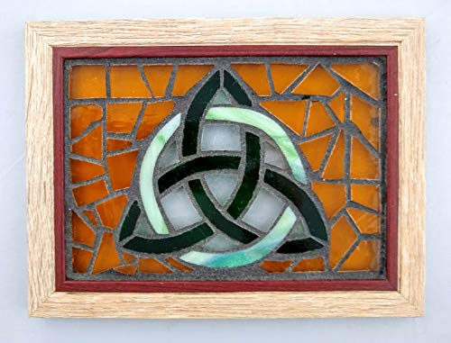 Stained Glass Trinity Knot - Celtic Trinity Knot Stained Glass Mosaic Art Panel in Frame 5 x 7 (Gold Background)
