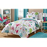 White Pink Green and Blue Owl Bird Cute Kids Twin Bedding Set (5 Piece Bed in a Bag)