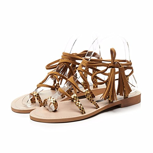 Playa Zapatos Las Moda Casual Zapatos de Flecos Sandalias Zapatos brown Planos de Mujer Sandalias 7Fgcp7Bvq