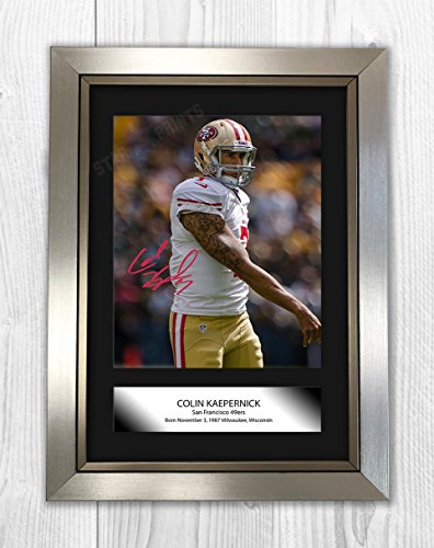 in Kaepernick Poster Signed Autograph Reproduction Photo A4 PrintSilver Frame ()