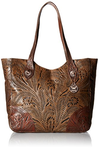 American West Annie's Secret Collection Large Zip Top Tote, Distressed Charcoal Brown / - American Leather Collection
