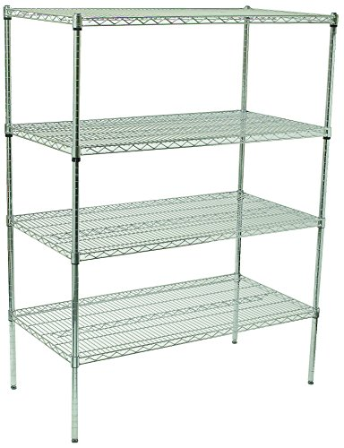 Winco VCS-1836 4-Tier Wire Shelving Set, Chrome Plated, 18