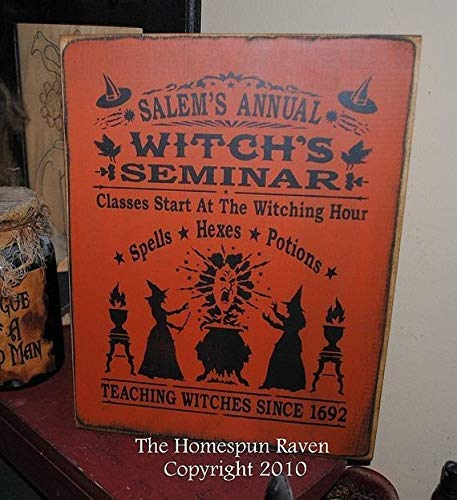 Funlaugh Salems Annual Witches Seminar Handpainted Wood Primitive Sign Wiccan Pagan Halloween Plaque Wooden Sign Wall Art Living Room Bedroom Decor Housewarming Gift -
