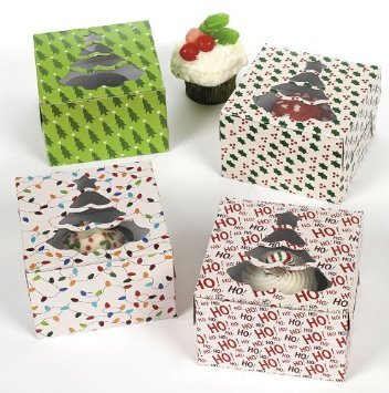 1 X Christmas Holiday Cupcake Boxes - 12 Pack (Holiday Treat Containers compare prices)